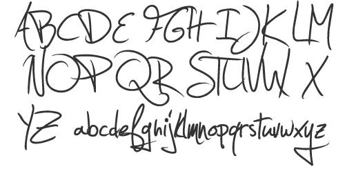 Estrya\'s Handwriting characters